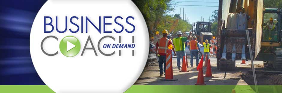 ADOT Business Coach on Demand logo, example of construction workers on jobsite