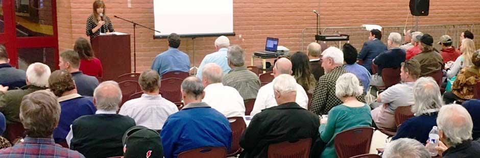 Photo of public hearing, ADOT welcomes and encourages public involvement in the decision process.>From Media Library