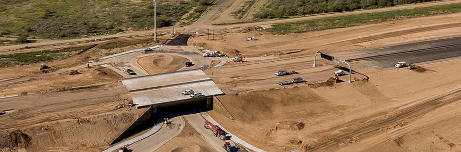 Overview of bridge on Loop 202 South Mountain Freeway