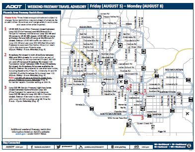 Weekend Freeway Travel Advisory Map