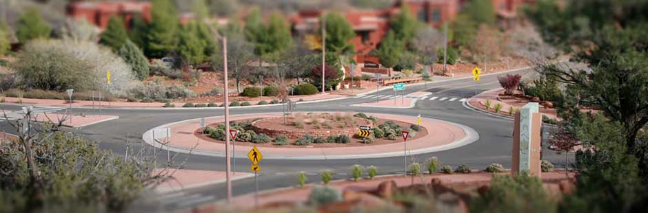A roundabout included in a highway project>From Media Library